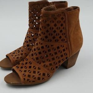 Franco Sarto Leather Die Cut Peep Toe Ankle Boot
